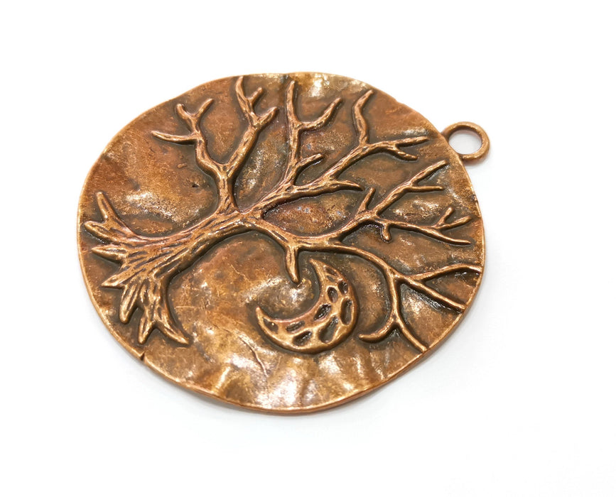 Tree Moon Crescent Pendant Antique Copper Plated Pendant (70x63mm) G19224