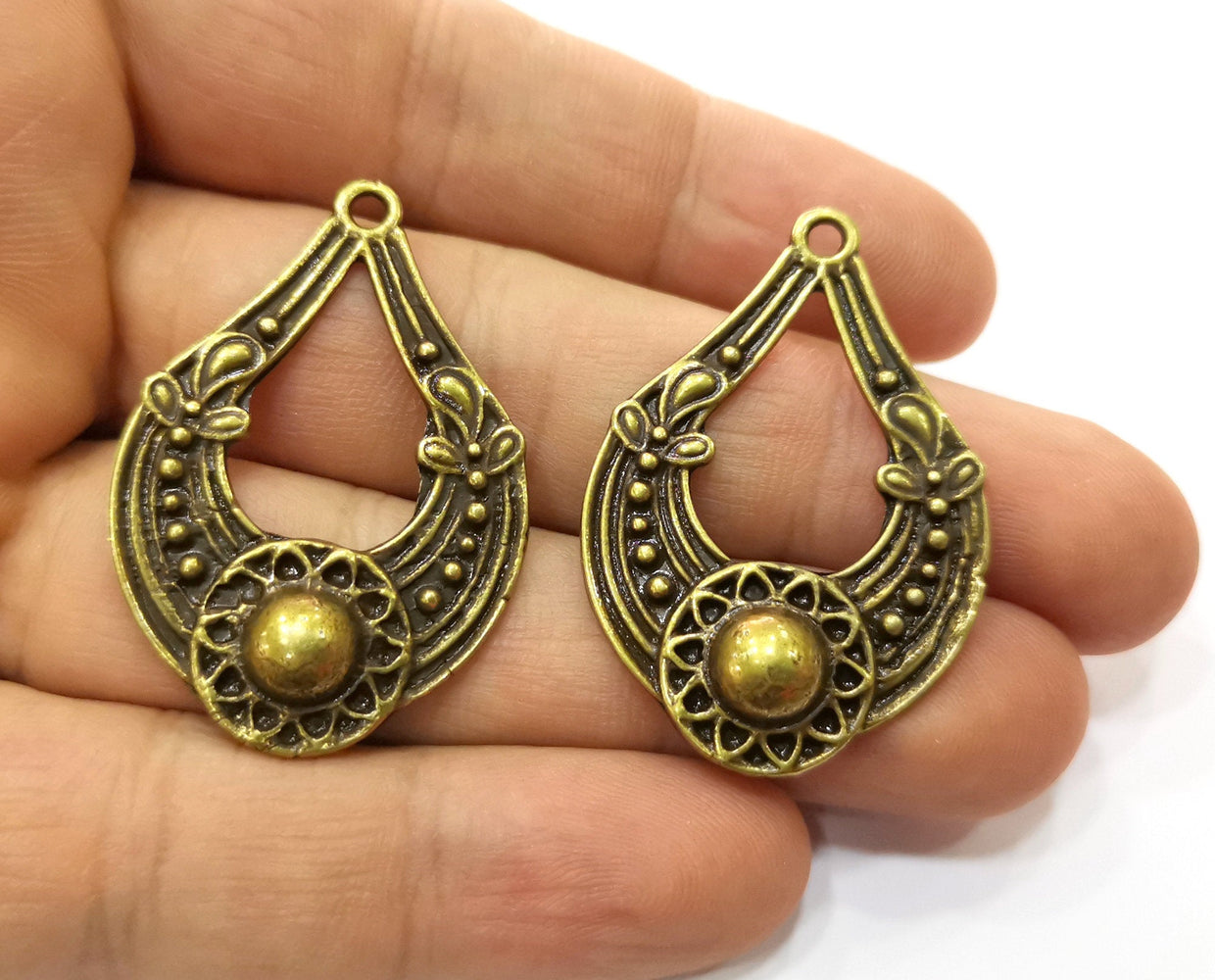 2 Antique Bronze Charms Antique Bronze Plated Charms (42x28mm)  G19235