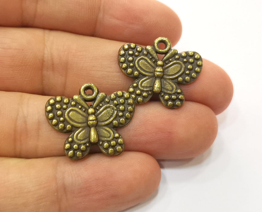 5 Butterfly Charms Antique Bronze Plated Charm (24x20mm) G19264