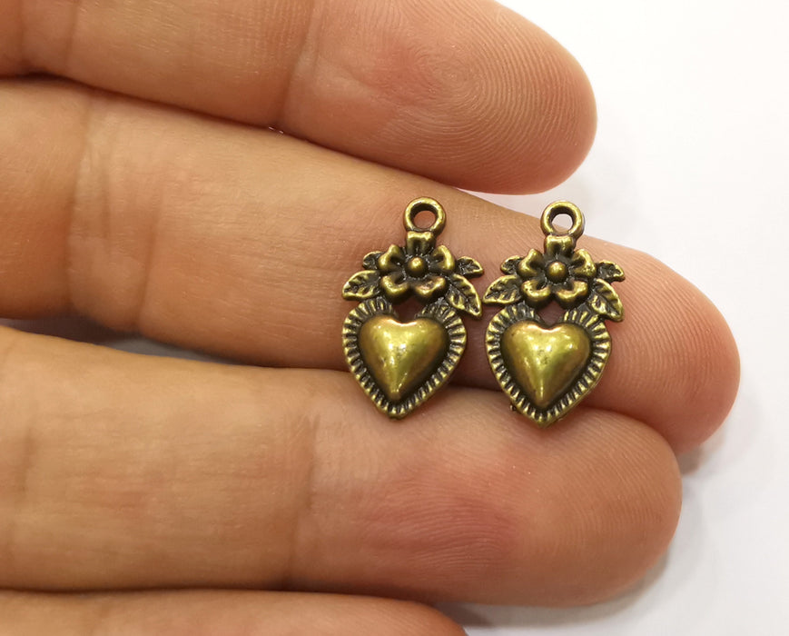 10 Heart Flower Charms Antique Bronze Plated Charms (18x11mm) G19283