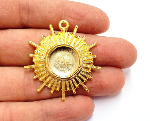 Sun Charms Blank Bezel Resin Bezel Mosaic Mountings Gold Plated Charms (43x39mm)( 16 mm Bezel Inner Size)  G19698