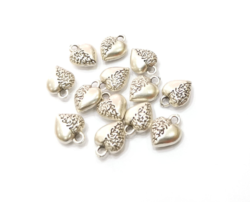 10 Heart Charms Antique Silver Plated Charms (12x9mm)  G19370