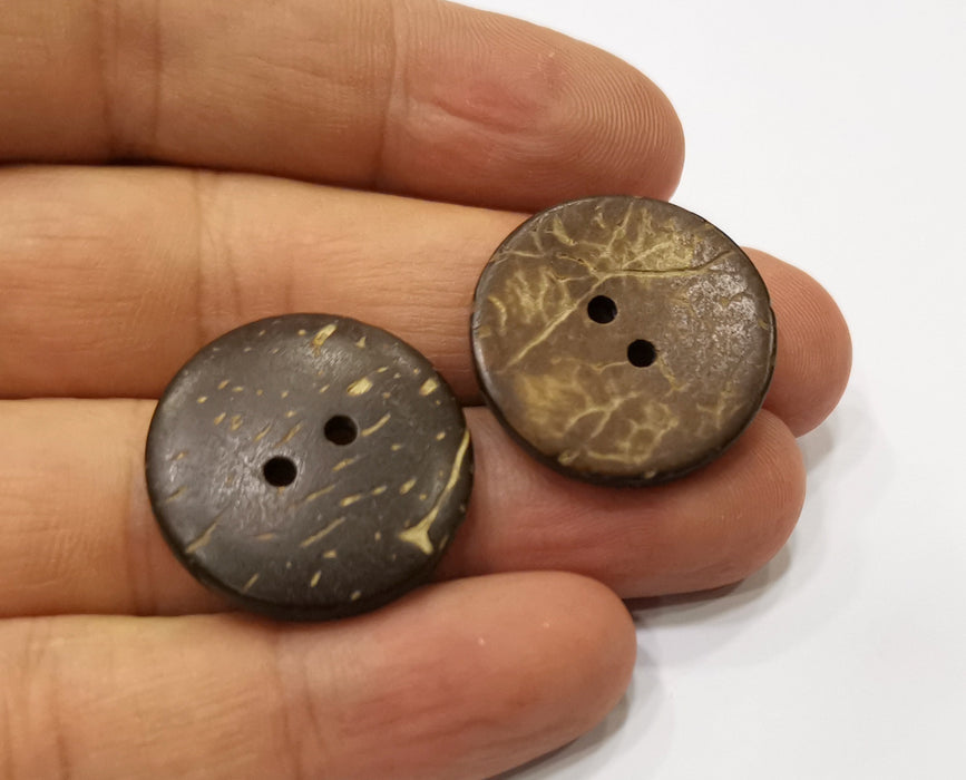 4 Coconut Wood Button Coconut Tree Natural Sew-on Button 25 mm  G19422