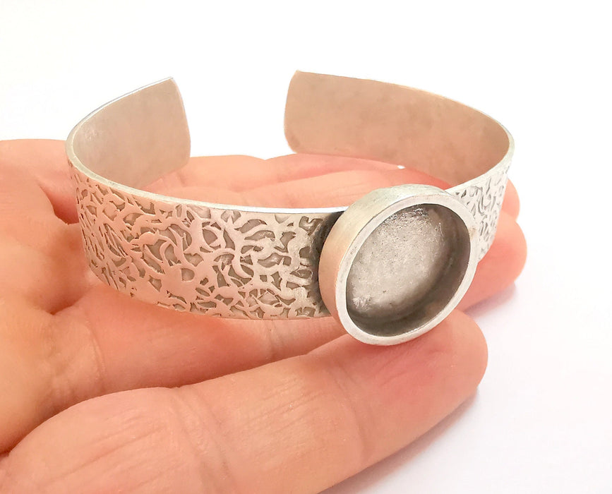 Bracelet Blank Resin Bangle Dry Flower inlay Blank Cuff Bezel Glass Cabochon Base Textured Adjustable Antique Silver (18mm ) G19867