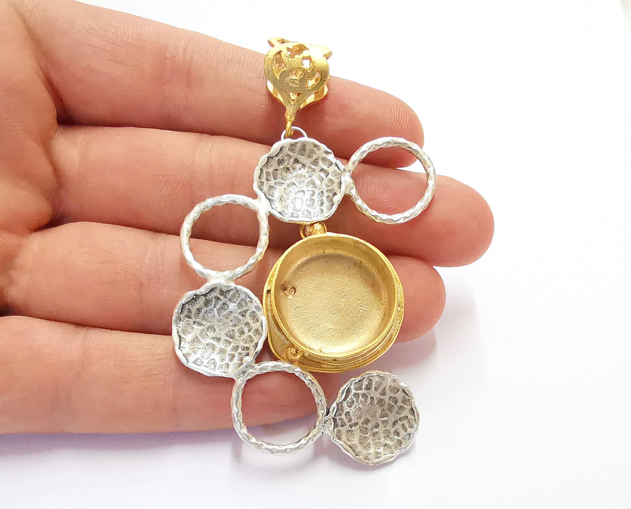 Hammered Circle Pendant Blank Resin Bezel Mosaic Mountings Antique Silver and Gold Plated Brass (80x48mm)( 20mm Bezel Inner Size)  G19878