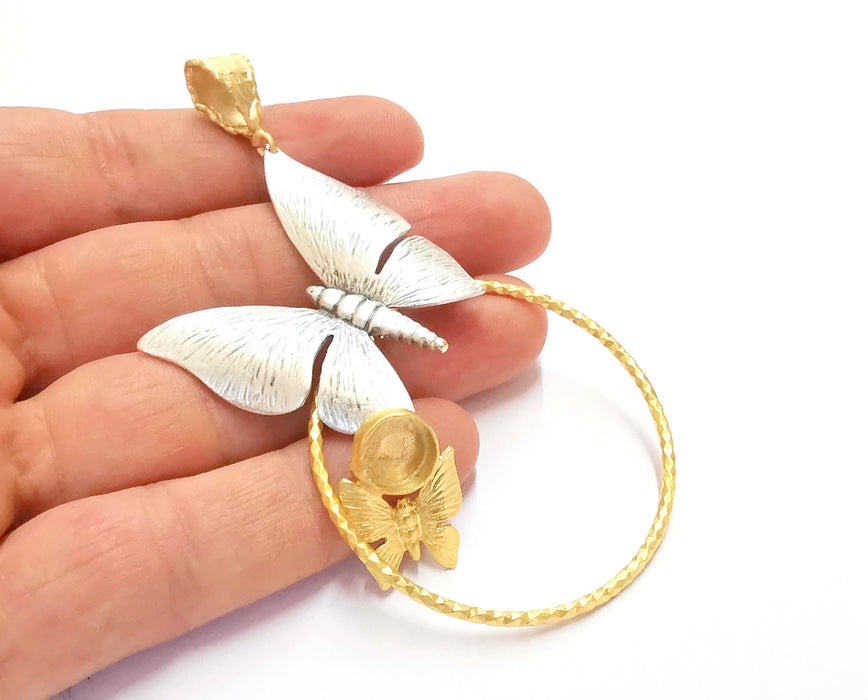 Butterflies Pendant Blank Resin Bezel Mosaic Mountings Antique Silver and Gold Plated Brass (100x53mm)( 10mm Bezel Inner Size)  G19881