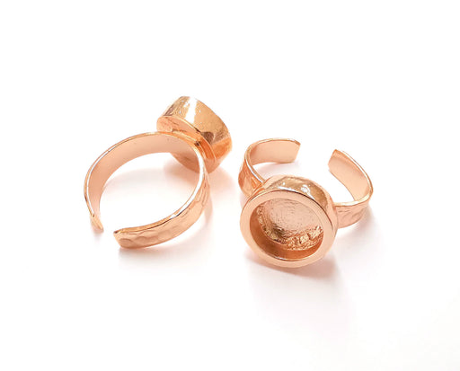 Rose Gold Ring Blank Base Bezel Settings Rose Gold Cabochon Base Mountings Adjustable Resin Ring (10mm Blank)  G19920