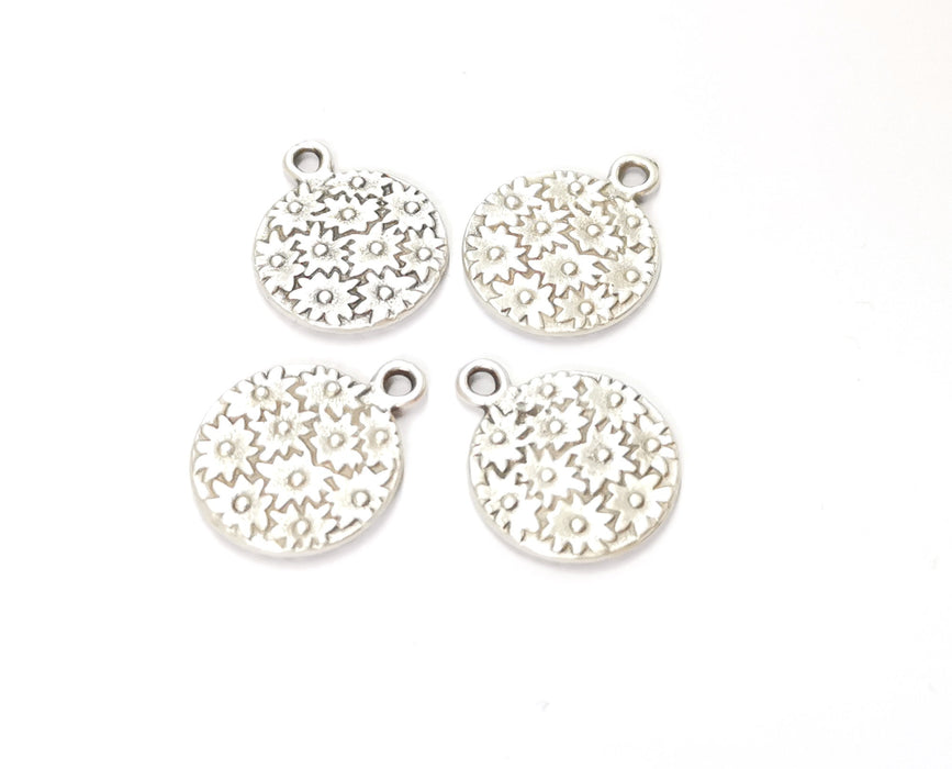 6 Flower Charms Antique Silver Plated Charms (20x16mm) G19584