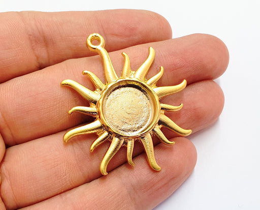Sun Charms Blank Bezel Resin Bezel Mosaic Mountings Gold Plated Charms (47x43mm)( 16 mm Bezel Inner Size)  G19694
