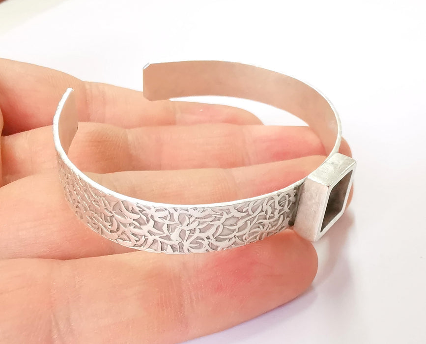 Bracelet Blank Resin Bangle Dry Flower inlay Blank Cuff Bezel Glass Cabochon Base Textured Adjustable Antique Silver (10x10mm ) G19862