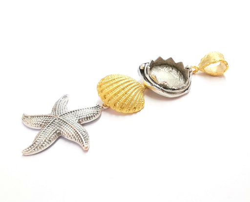 Starfish Sea Shell Pendant Blank Resin Bezel Mosaic Mountings Antique Silver and Gold Plated Brass (90x30mm)( 16mm Bezel Inner Size)  G19877