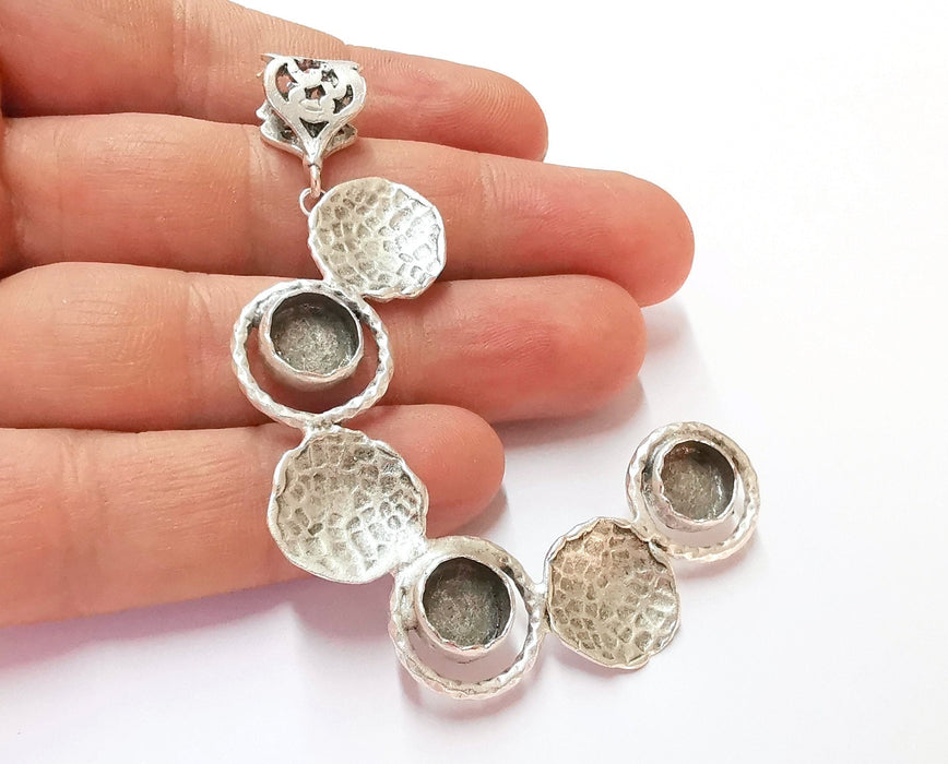 Hammered Pendant Blank Resin Bezel Mosaic Mountings Antique Silver Plated Brass (80x45mm)( 9mm Bezel Inner Size)  G19907