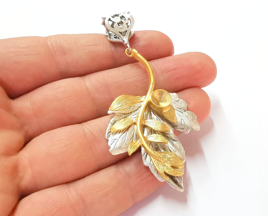 Leaf Pendant Blank Resin Bezel Mosaic Mountings Antique Silver and Gold Plated Brass (75x37mm)( 7mm Bezel Inner Size)  G19908