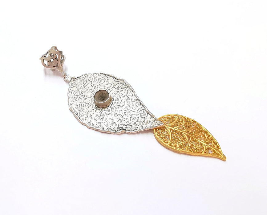 Leaf Pendant Blank Resin Bezel Mosaic Mountings Antique Silver and Gold Plated Brass (110x32mm)(7mm Bezel Size)  G19918