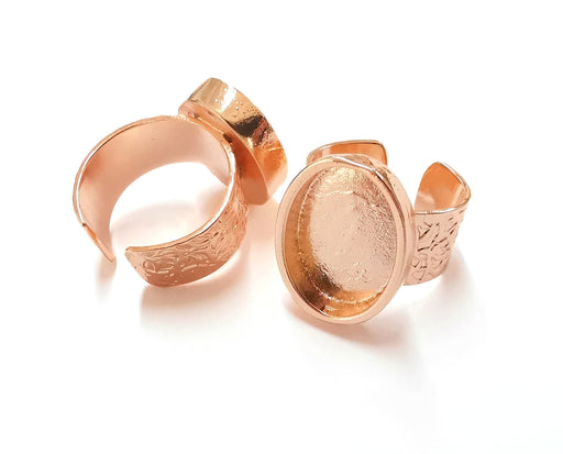 Rose Gold Ring Blank Base Bezel Settings Rose Gold Cabochon Base Mountings Adjustable Resin Ring (18x13 mm Blank)  G19921