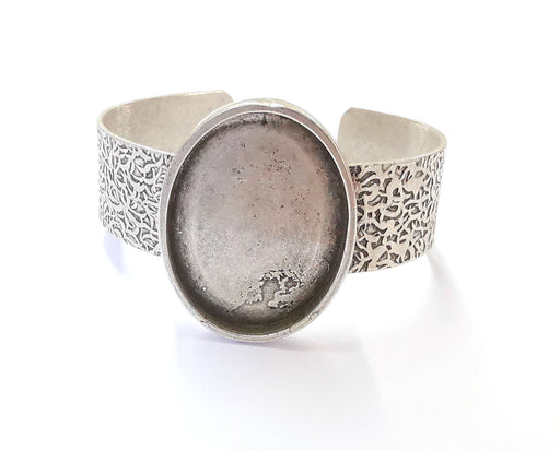 Bracelet Blank Resin Bangle Dry Flower inlay Blank Cuff Bezel Glass Cabochon Base Textured Adjustable Antique Silver (40x30mm ) G20043