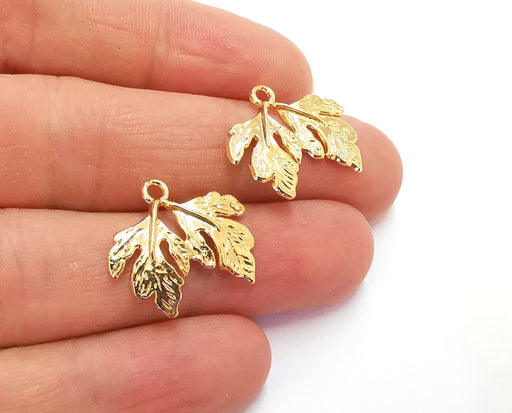 4 Leaf Charms Shiny Gold Plated Charms (19x22mm)  G20280