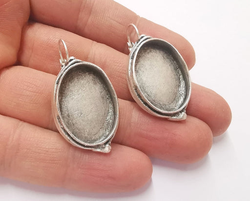 Earring Blank Base Settings Silver Resin Blank Cabochon Base inlay Blank Mountings Antique Silver Plated Brass (25x18mm blank) 1 Set  G20379