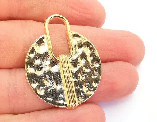 2 Hammered Charms Shiny Gold Plated Charms (38x31mm)  G20871
