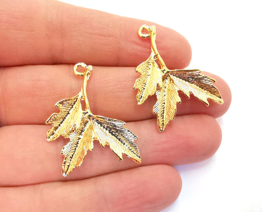 2 Leaves Charms Shiny Gold Plated Charms (37x31mm)  G20875