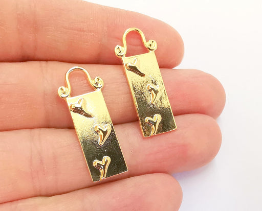 2 Gold Charms Shiny Gold Plated Charms (31x13mm)  G20876
