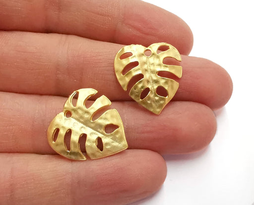 2 Monstera Leaf Charms Gold Plated Charms (22x21mm)  G20936