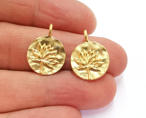 4 Lotus Charms Flower Charms Gold Plated Charms (21x16mm)  G20990