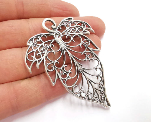 Leaf Pendant Antique Silver Plated Pendant (68x52mm)  G21079