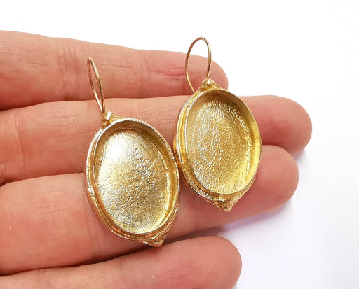 Earring Blank Base Settings Resin Blank Cabochon Bases inlay Blank Mountings Raw Brass (25x18mm blank ) 1 Set  G20788