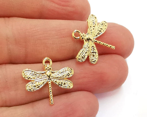 4 Dragonfly Charms Shiny Gold Plated Charms (21x19mm)  G20868