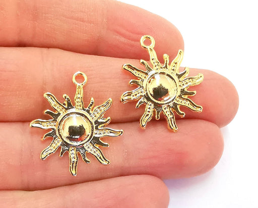 4 Sun Charms Shiny Gold Plated Charms (27x23mm)  G20870