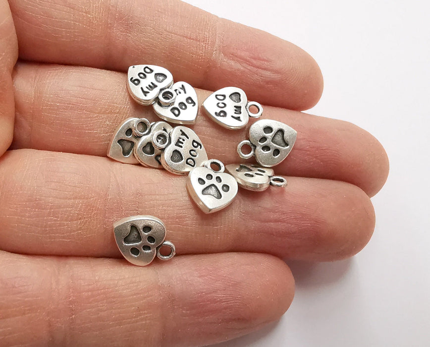 10 Heart Paw Print Double Sided (both sides are different) Charms Antique Silver Plated Charms (13x10mm) G21213