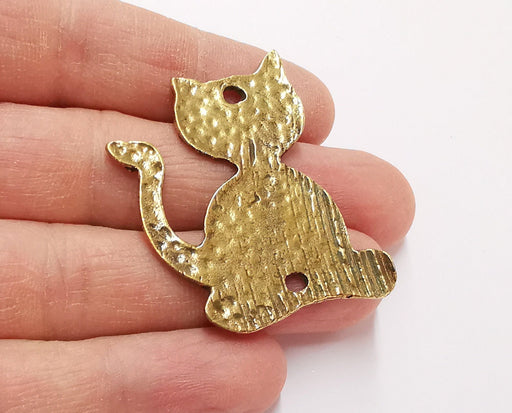 2 Cat Charms Antique Bronze Plated Charms (45x34mm)  G21221