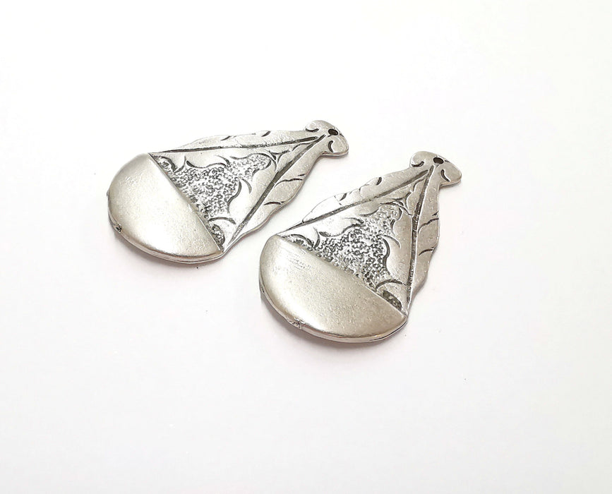 2 Silver Charms Antique Silver Plated Charms (45x25mm)  G21226