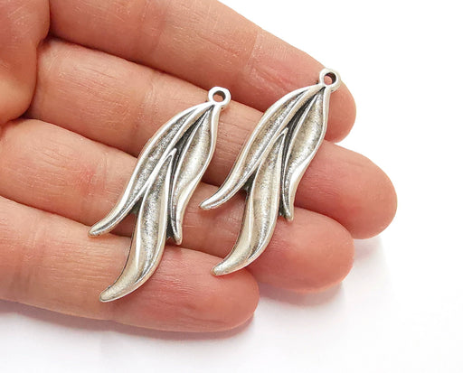 2 Leaf Charms Antique Silver Plated Charms (50x18mm)  G21228