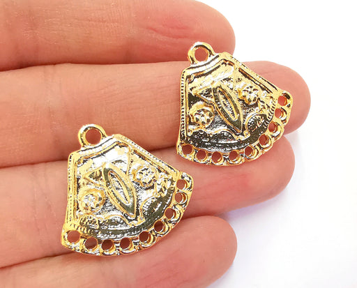 2 Gold Charms Connector Shiny Gold Plated Charms (28x27mm)  G20878