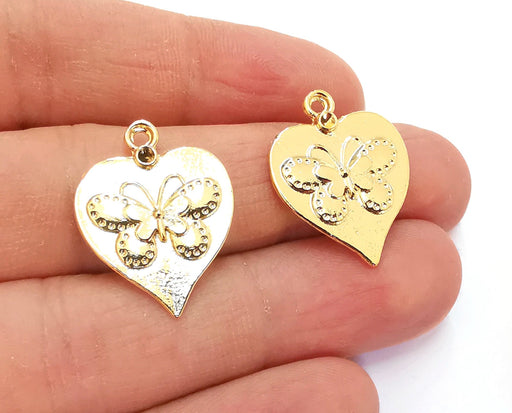 2 Heart Butterfly Charms Shiny Gold Plated Charms (25x20mm)  G20880