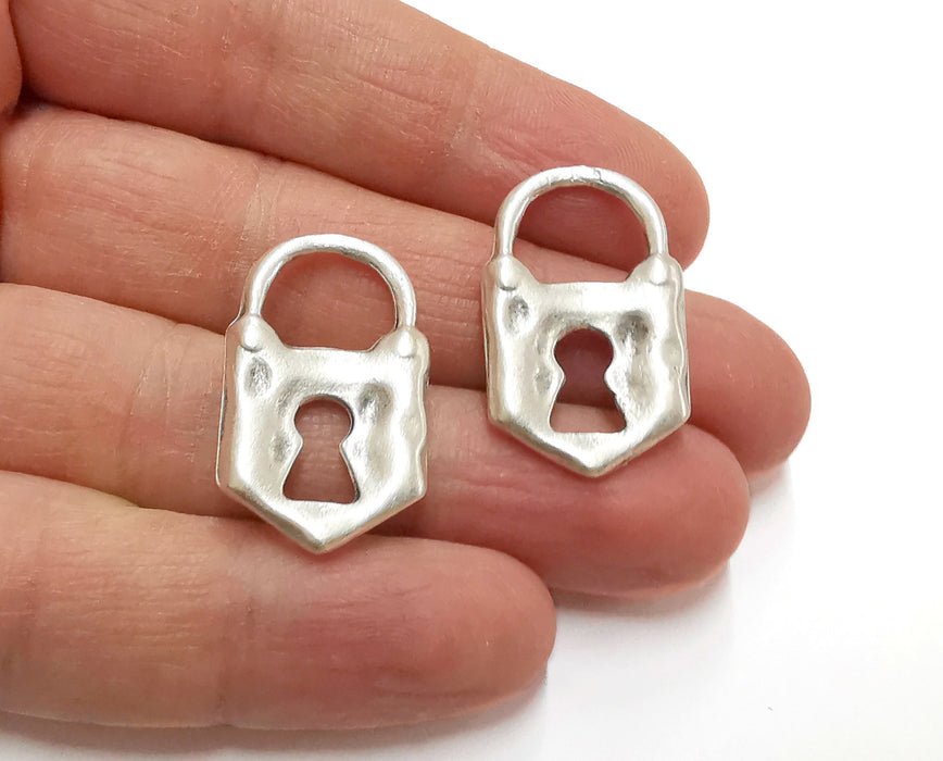 2 Padlock Charms Antique Silver Plated Charms (30x18mm)  G21283