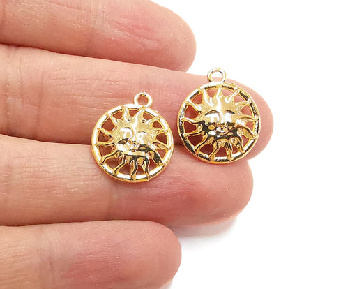4 Sun Charms Shiny Gold Plated Charms (19x16mm)  G21312