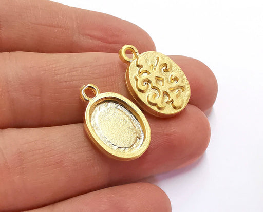 2 Patterned Oval Charms Blank Bezel Resin Bezel Mosaic Mountings Gold Plated Pendant Cabochon Tray (22x14mm)( 15x11 mm Inner Size)  G20950
