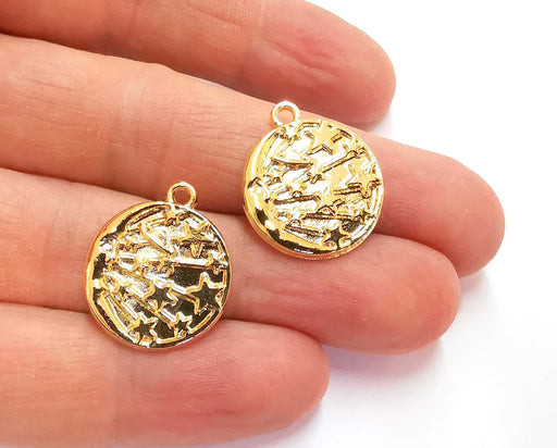 2 Crescent Moon Stars Charms Shiny Gold Plated Charms (22x19mm) G20956