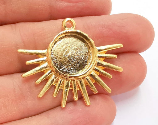 Sun Charms Blank Bezel Resin Bezel Mosaic Mountings Gold Plated Charms (34x40mm) (16 mm Bezel Inner Size)  G20983