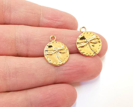 2 Dragonfly Charms Shiny Gold Plated Charm (19x15mm) G21336