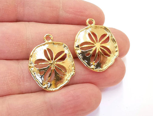 4 Gold Charms Shiny Gold Plated Charms (27x22mm)  G21344