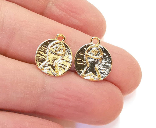10 Fish Charm Shiny Gold Plated Charms (16x13mm) G21345