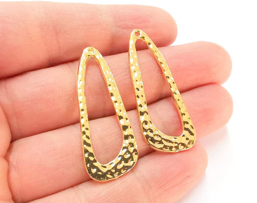 2 Hammered Charms Shiny Gold Plated Charms  (42x17mm)  G21376