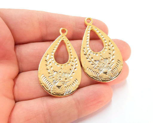 2 Gold Charms Shiny Gold Plated Charms  (46x27mm)  G21379