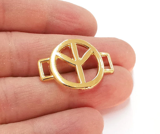 2 Peace Charms Shiny Gold Plated Charms (31x22mm)  G21382
