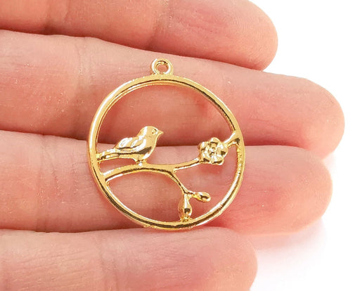 2 Bird Flower Charms Shiny Gold Plated Charms (32x29mm)  G21383
