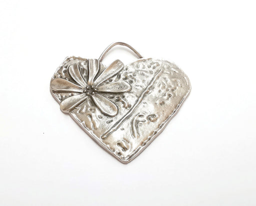 Heart Flower Pendant Antique Silver Plated Pendant (66x65mm)  G21408